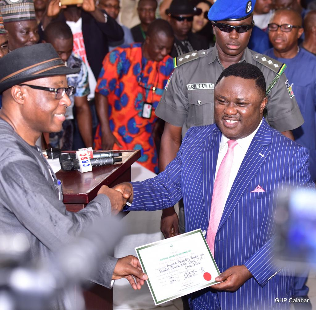 Ayade receives Certificate of Return, promises inclusive government …IPAC, CNPP, others pledge support