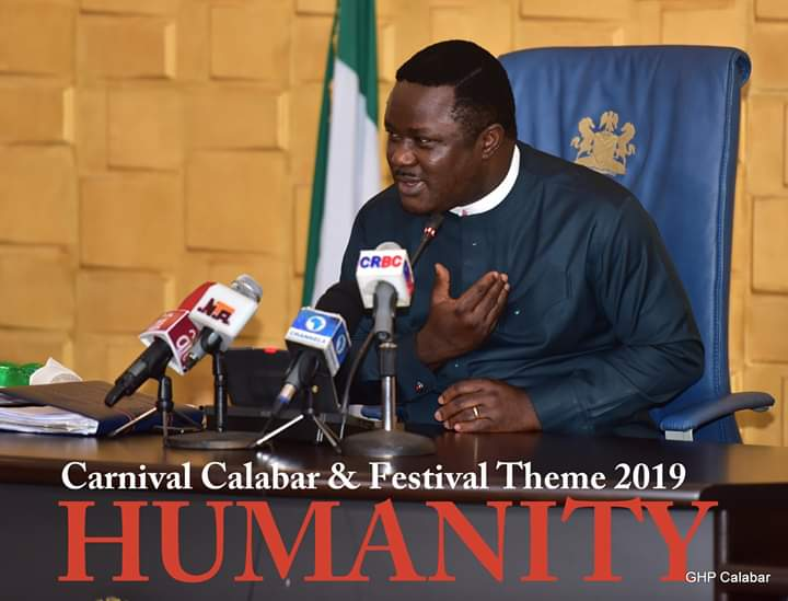 Gov Ayade unveils 2019 Carnival Calabar theme, harps on humanity
